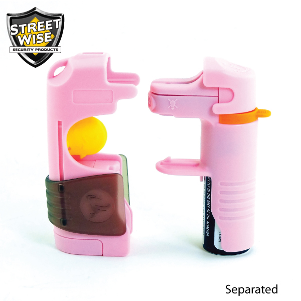 5 in 1 Pepper Spray belt clip together in one package Pink - Click Image to Close